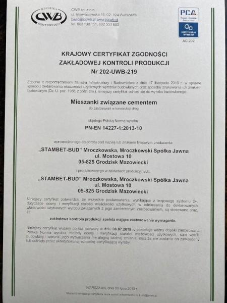 certyfikat STAMBET-BUD 2
