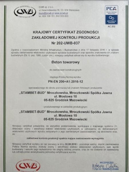 certyfikat STAMBET-BUD